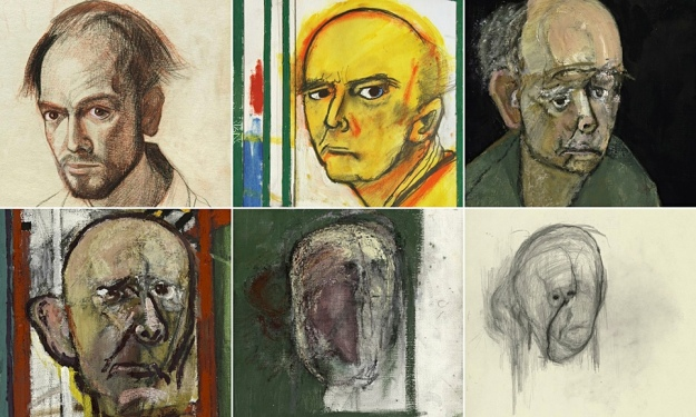 Details from William Utermohlen's self-portraits